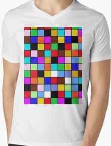 Checkerboard Color Blocks Abstract Pattern Mens V-Neck T-Shirt