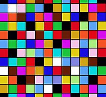Checkerboard Color Blocks Abstract Pattern by Saundra Myles