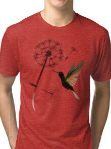 Dandelion and Little Green Hummingbird Tri-blend T-Shirt