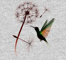 Dandelion and Little Green Hummingbird Womens Fitted T-Shirt
