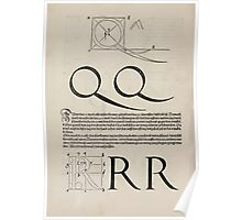 Measurement With Compass Line Leveling Albrecht Dürer or Durer 1525 0126 Alphabet Letters Calligraphy Font Poster
