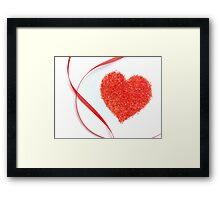 Sugar Sprinkles Heart and Red Ribbon Framed Print