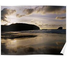 Cornwall: Last Light Reflections at Portreath Beach Poster