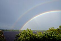 Double Rainbow Over the Ottawa River by Debbie Pinard