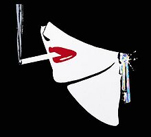Red Lips, Vintage fashion art, Sophisticated woman by Glimmersmith