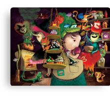 Three Halloween Witches in the kitchen Canvas Print