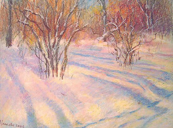snow shadows by Julia Lesnichy