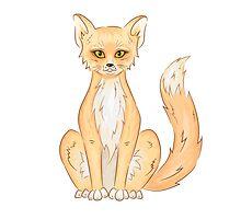 Hand drawn cute sitting fox by necatary