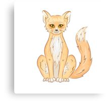 Hand drawn cute sitting fox Canvas Print