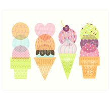Ice Cream Stamps Art Print