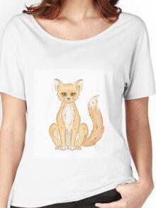 Hand drawn cute sitting fox Women's Relaxed Fit T-Shirt