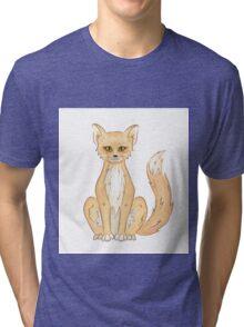 Hand drawn cute sitting fox Tri-blend T-Shirt