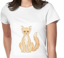 Hand drawn cute sitting fox Womens Fitted T-Shirt