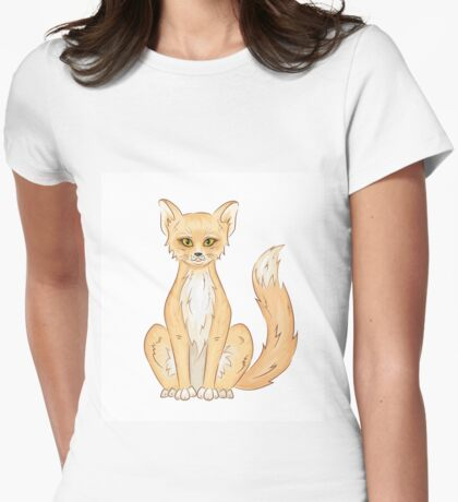Hand drawn cute sitting fox Womens Fitted T-Shirt