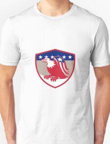 American Eagle Flag Wings Perching Crest Retro T-Shirt