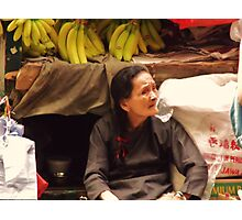 Red Ribboned Fruit Seller Photographic Print