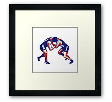 Freestyle Wrestling Retro Framed Print