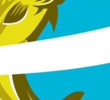 Trout Jumping Over Ribbon Shield Retro Sticker