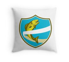 Trout Jumping Over Ribbon Shield Retro Throw Pillow