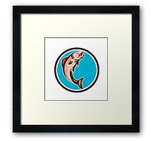 Trout Jumping Circle Retro Framed Print