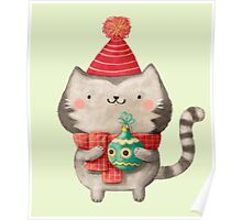Cute Cat Christmas Poster