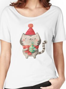 Cute Cat Christmas Women's Relaxed Fit T-Shirt