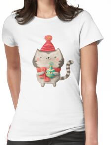 Cute Cat Christmas Womens Fitted T-Shirt