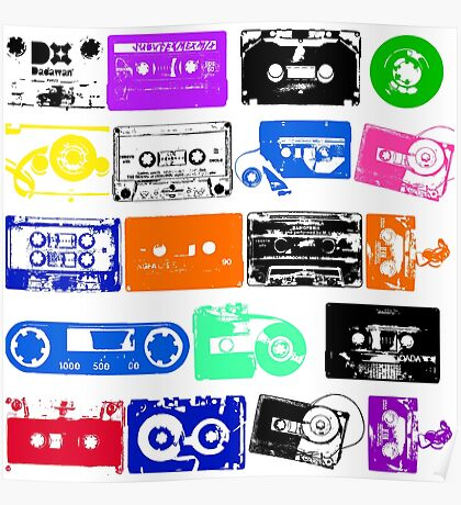 Audio tapes Vintage Color Poster