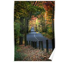 Autumn View of Banks Road, Easton, CT Poster