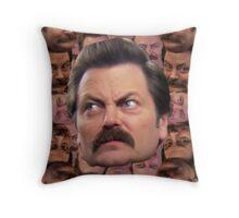 Ron Swanson Head Print Throw Pillow