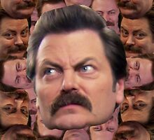 Ron Swanson Head Print by Sebbybeedesign