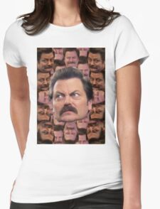 Ron Swanson Head Print Womens Fitted T-Shirt