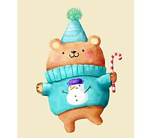 Cute Christmas Teddy Bear Photographic Print