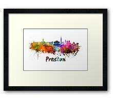 Preston skyline in watercolor Framed Print