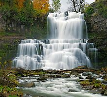 High Flow in Autumn - Chittenango Falls by Stephen Beattie