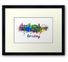 Reading skyline in watercolor Framed Print