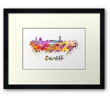 Cardiff skyline in watercolor Framed Print