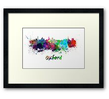 Oxford skyline in watercolor Framed Print