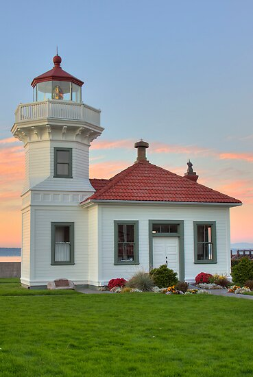 Mukilteo Lighthouse at Sunset by Barb White