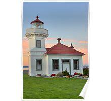 Mukilteo Lighthouse at Sunset Poster