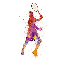 tennis player celebrating in silhouette 01 Photographic Print