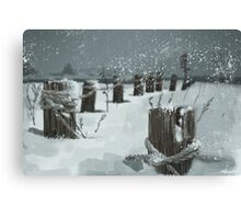 Winter by Rocky beach Canvas Print