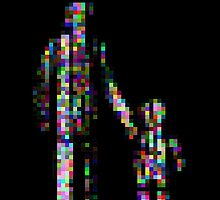 8 bit pixel pedestrians (color on black) by Pekka Nikrus