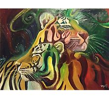 Rajah and Kaela: Chromatic Space Tigers Photographic Print