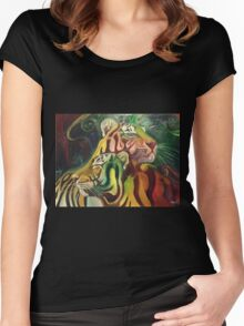 Rajah and Kaela: Chromatic Space Tigers Women's Fitted Scoop T-Shirt