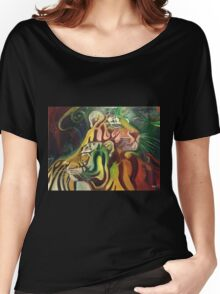 Rajah and Kaela: Chromatic Space Tigers Women's Relaxed Fit T-Shirt