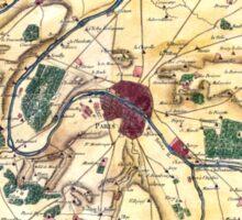 Map of the environs of Paris, France, Bonne,1780 Sticker