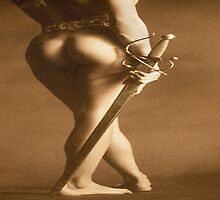 Donatella with Sword. (Homage to Botero) by Julian Wilde