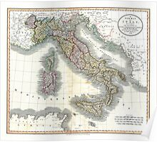 Italy map by John Cary - 1799 Poster
