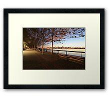 Promenade on the Hudson Rv.! Framed Print